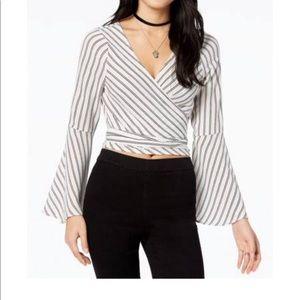 Striped Crop Top White